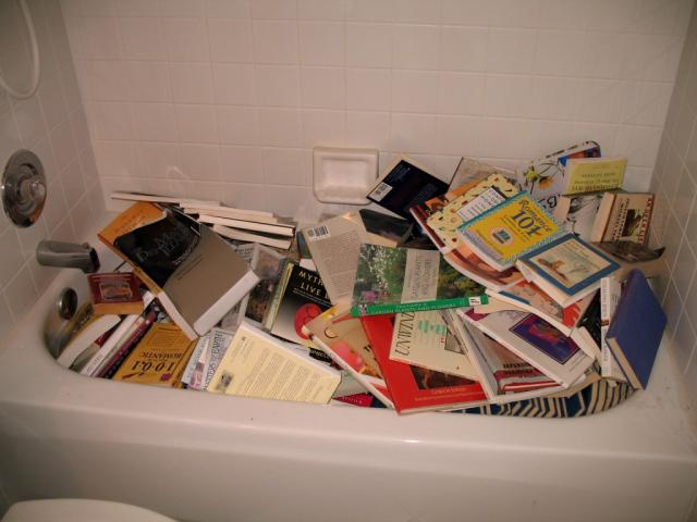 bathtub full of books